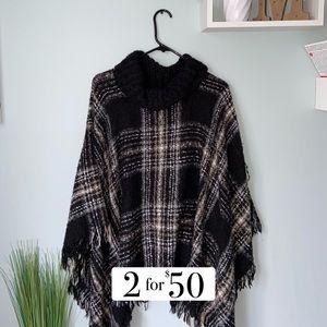 Black Knitted Turtleneck Poncho